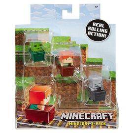 Minecraft Minecart Figures - 3 pack - Assorted