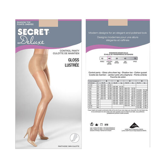 Secret Gloss Control Top Panty Hose - B - Beige