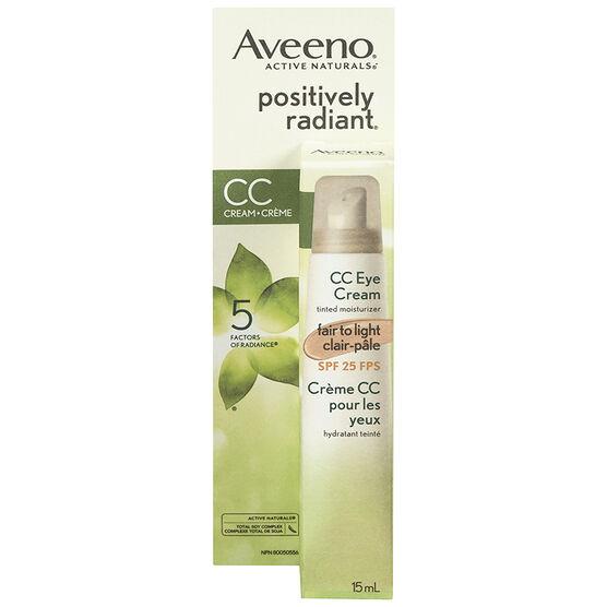 Aveeno Positively Radiant CC Eye Cream - Fair to Light - 15ml
