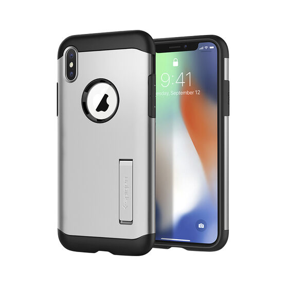 Spigen Slim Armor Case for iPhone X - Satin Silver - SGP057CS22546