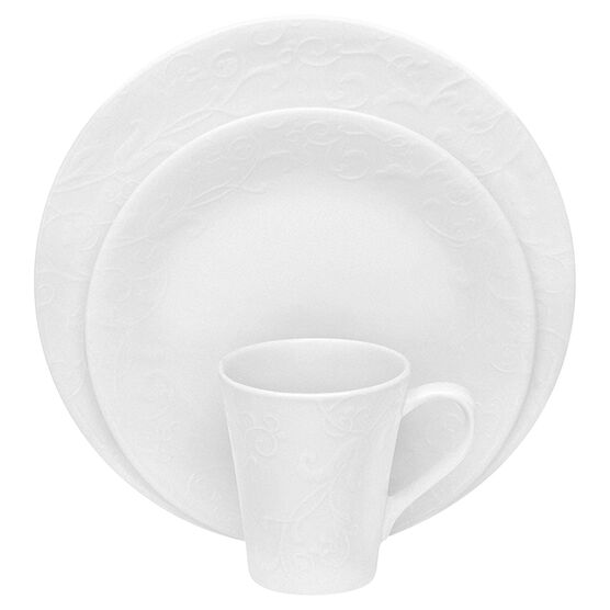 Corelle Bella Faenza Embossed Dinnerware Set - White - 16 piece