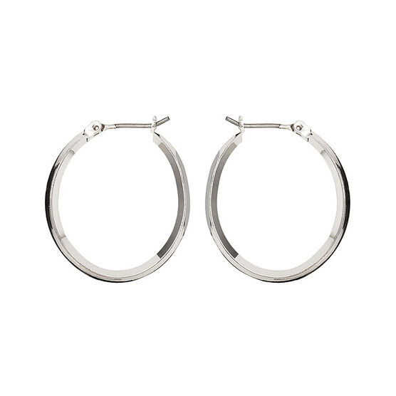 Nine West Silver Click It Hoop Earrings