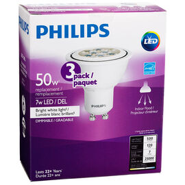 Philips GU10 LED Bulb - Bright White - 7W=50w - 3 pack