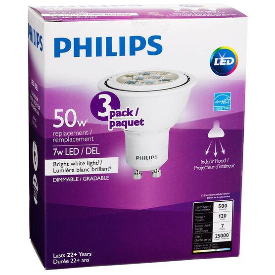 Philips GU10 LED Bulb - Bright White - 7W=50w - 3 pack