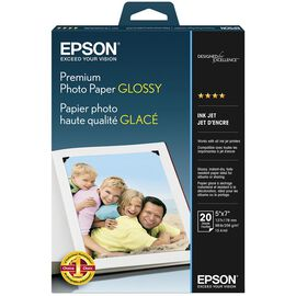 Epson Premium Glossy Photo Paper - 5 x 7 Borderless - 20 Sheets - S041464
