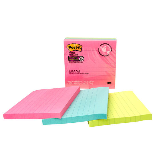 3M Post-it Super Sticky Notes - Miami - 4x4 inches