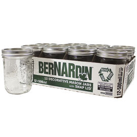 Bernardin Decorated Mason Jar - 500ml - 12 pack
