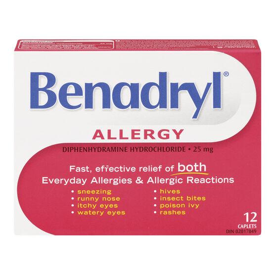 Benadryl Allergy 25mg Caplets - 12's