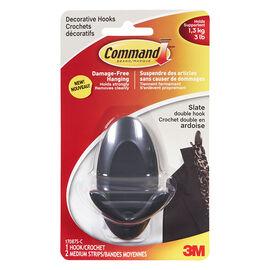 Command™ Medium Double Hook - Slate - 1 hook