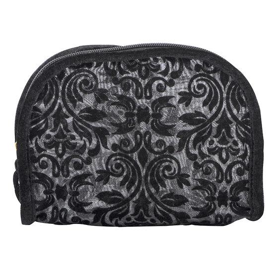 Modella Flocked Baroque Round Top Cosmetic Bag - Black - A005694LDC