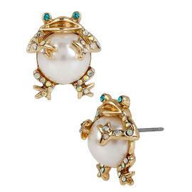 Betsey Johnson Pearl Frog Stud Earrings - Gold