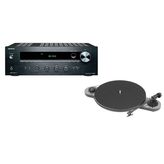 Pro-Ject Elemental Turntable - Black/Silver + Onkyo Stereo Receiver -PKG #17390
