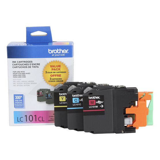 Brother LC101 3 Pack Colour Printer Ink Cartridges - LC1013PKS