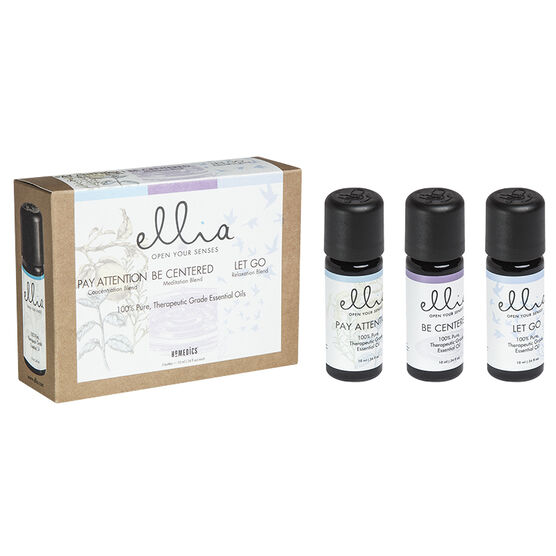 Ellia 100% Pure Essential Oils - Pay Attention / Be Centered / Let Go - 3 x 10ml