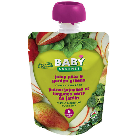 Baby Gourmet Baby Food Stage 1 - Juicy Pear and Garden Greens - 128ml