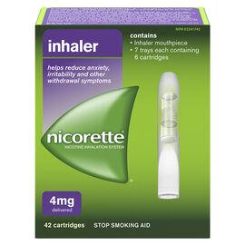 Nicorette Nicotine Inhaler Stop Smoking Aid - 4mg - 42 cartridges