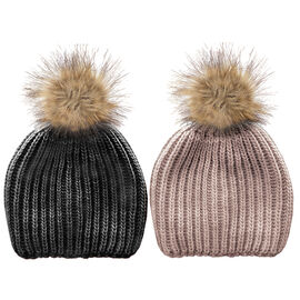 Simon Chang Ladies Knit Hat with Pom Pom - Assorted
