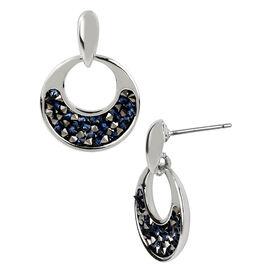 Kenneth Cole Blue Glitter Drop Earrings - Silver
