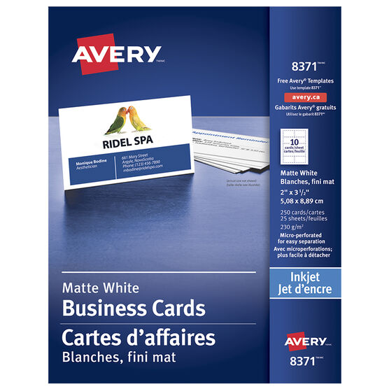 Avery Perforated Business Cards - Matte White  - 250's - 8371