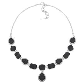 Nine West Jewel Frontal Necklace - Black/Silver Tone