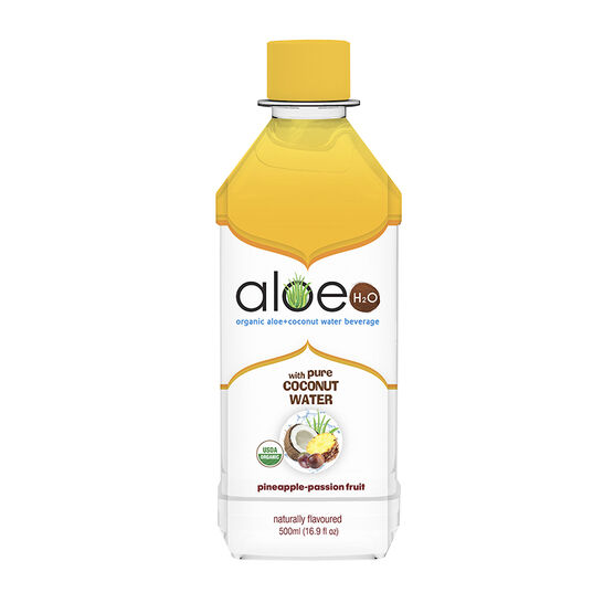 Aloe H20 Organic Aloe + Coconut Water Beverage - Pineapple-Passion Fruit - 500ml
