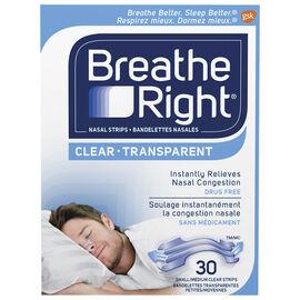 Breathe Right Nasal Strips - Clear - Small/Medium - 30's