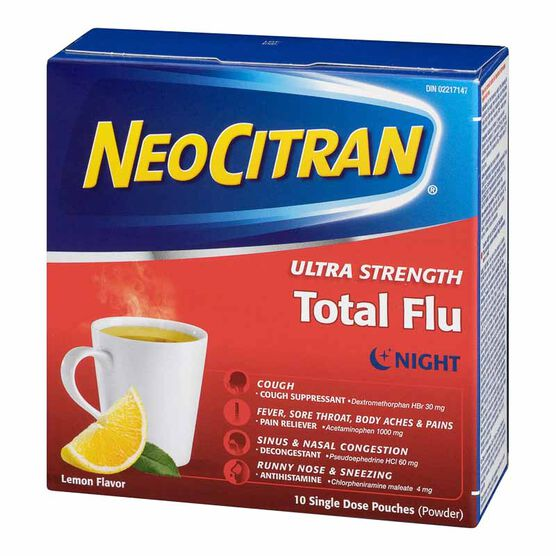 NeoCitran Ultra Strength Total Flu Night - Lemon - 10's