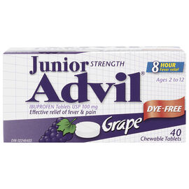 Advil Junior Strength Chewable Tablets - Dye-Free Grape - 40's
