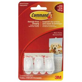 Command™ Micro Hooks - White - 3's