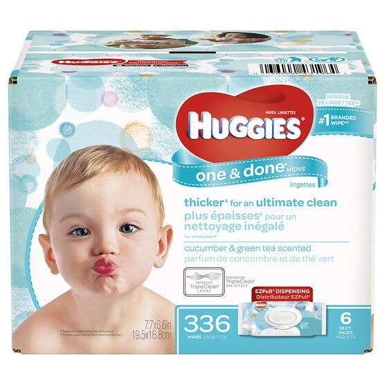 Huggies One and Done Wipes - 336s