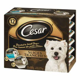 Cesar Slices for Dogs - New York Strip/Braised Chicken and Garden Vegetables - 12 x 100g