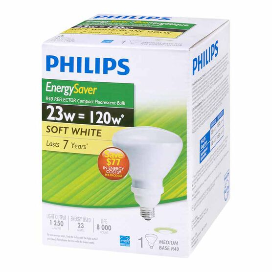 Philips 23W R40 Reflector - Compact Fluorescent Lighting  Light Bulb - Soft White