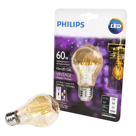 Philips A19 Vintage Filament LED Light Bulb - Amber - 60w