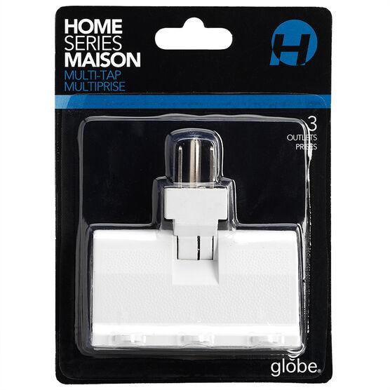 Globe 3-outlet Ground Power Bar - White - 46505