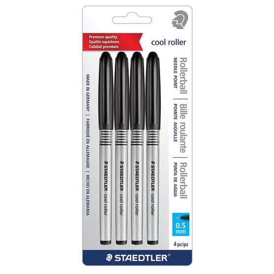 Staedtler Cool Roller Pen - Black - 4 Pack