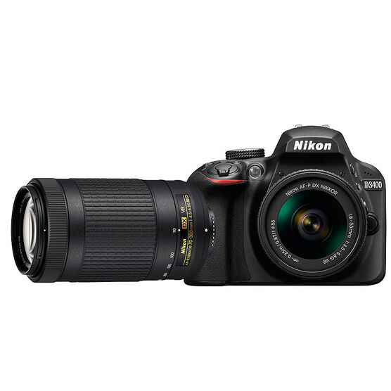 Nikon D3400 with 18-55mm VR and 70-300mm Non-VR Lens - PKG #13672