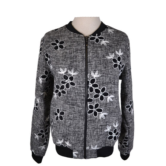 Lava Embroidered Bomber Jacket - Black