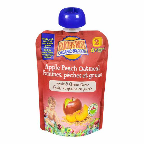 Earth's Best Infant Puree Pouch - Apple and Peach Oatmeal - 128 ml