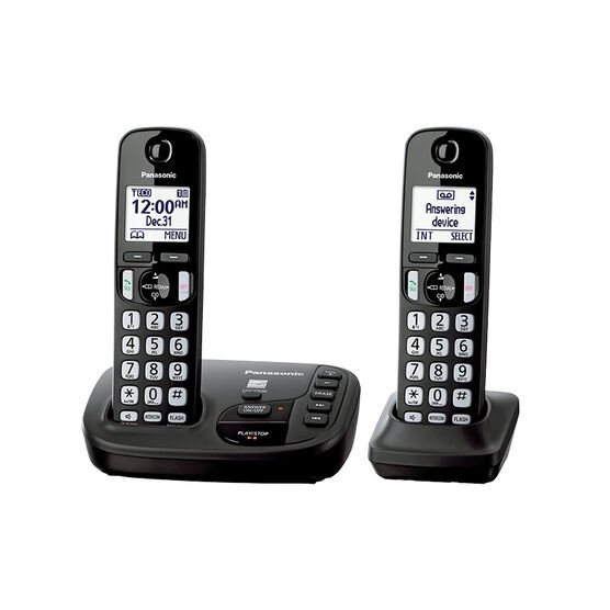 Panasonic Expandable Digital Cordless Answering System with 2 Handsets - KX-TGD222B