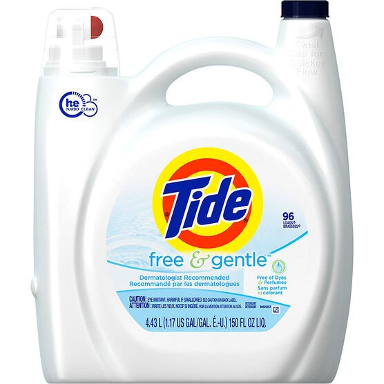 Tide Free & Gentle HE Liquid Laundry Detergent - Perfume Free - 4.43L/96 use