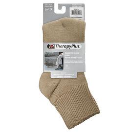 TherapyPlus Women's Diabetic Anklet Socks - Shoe Size 6-10 -Tan