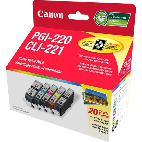 Canon PGI-220 Black with CLI-221 4 Colours Ink Combo - 2945B007