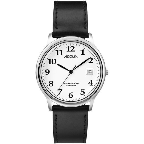 Timex Acqua Full Size Leather Watch - Black/Silver