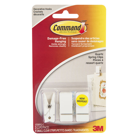 Command™ Small Spring Clip - Quartz - 3's