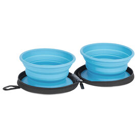 Conair Pet Portable Collapsible Bowl - Blue - 2 pack