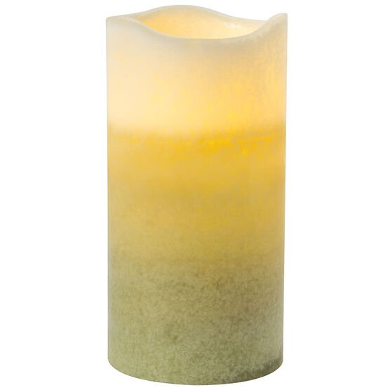 Multi-Pour Flameless Pillar Candle - Unscented - Green - 3 x 6inch