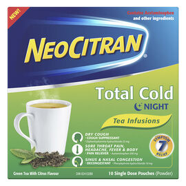 NeoCitran Total Cold Night Tea Infusions - Green Tea Citrus - 10's