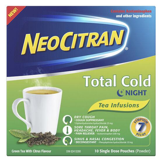 NeoCitran Total Cold Night Tea Infusions - Green Tea Citrus - 10's