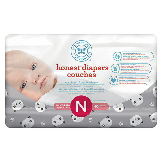 The Honest Company Honest Diapers - Size N - 40s - Panda Print