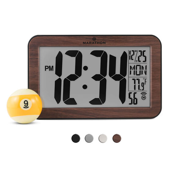 Marathon Atomic Wall Clock - Wood - CL030033WD